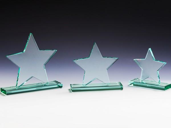 JADE Glas Stern, 3 Größen, 10mm Stärke