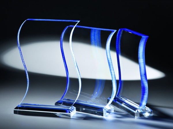 "Acrylglas Trophäe ""Rapsodie"", 3 Größen, 19mm Stärke"