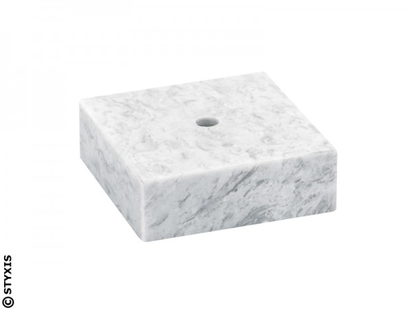 Marmor Sockel weiß mit Mittelbohrung in verschiedenen Varianten