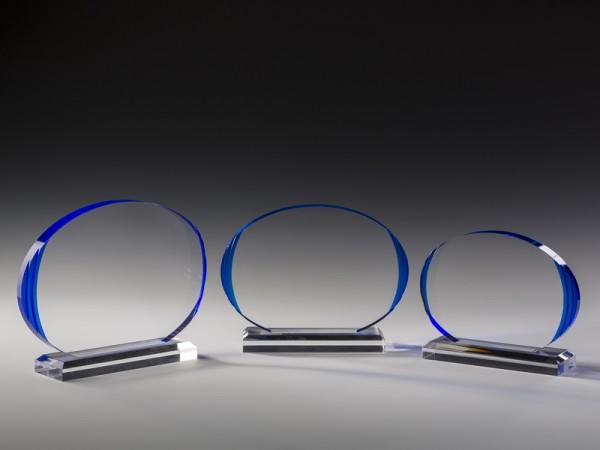 """Acrylglas Trophäe """"Oval"""", 3 Größen, 18mm Stärke"""