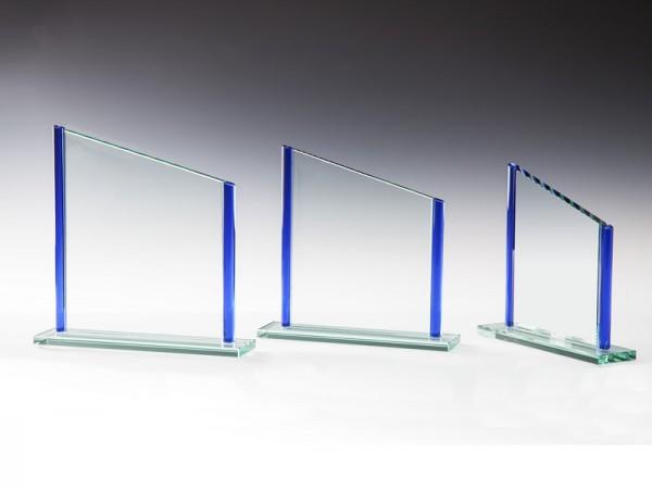 Glastrophäe Rechteck veredelt blau, 3 Größen, 10mm Stärke