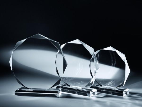 """Acrylglas Trophäe """"Achteck"""", 3 Größen, 18mm Stärke"""