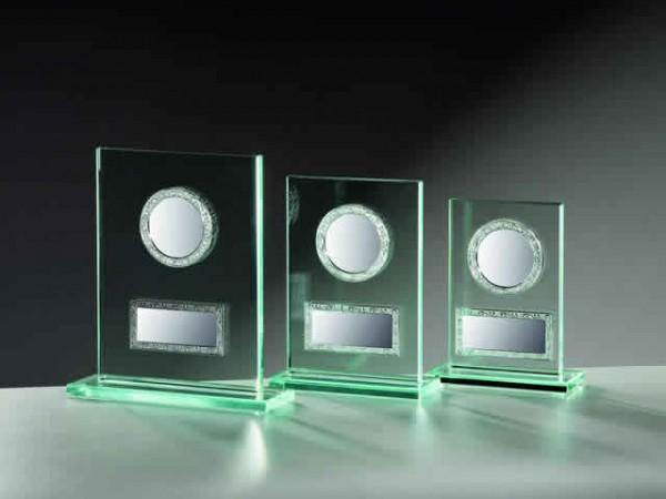 Glastrophäe Rechteck 10mm mit Metallfassungen