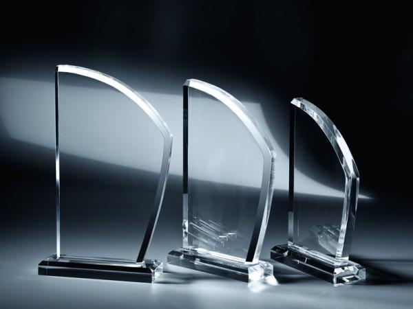 "Acrylglas Trophäe ""Segel"", 3 Größen, 18mm Stärke"