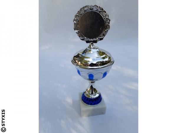 Pokal mit Deckel 243mm, Silber/blau