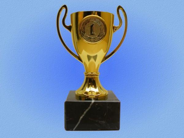 Mini Pokal, Henkelpokal ohne Deckel, Gold, 130mm
