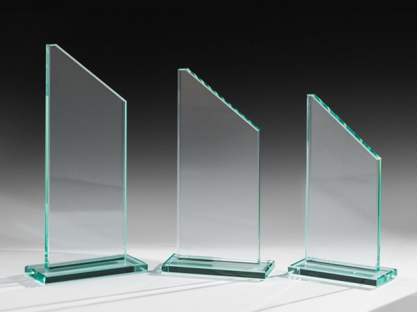 Glastrophäe abgeschrägt, 3 Größen, 10mm Stärke