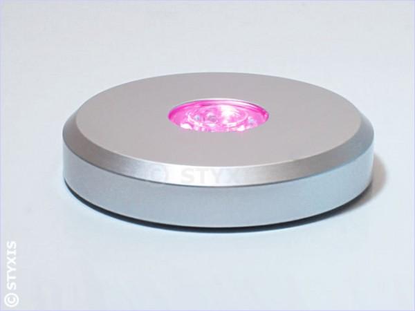 Led-Sockel Colorstop Rund Ø11cm (Silber) 15 Led's inkl. Weiß