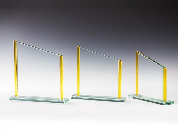 Glastrophäe Rechteck veredelt gold/gelb, 3 Größen, 10mm Stärke