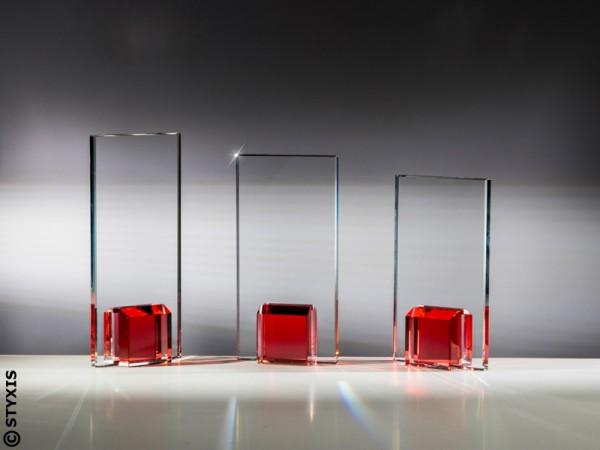 Glastrophäe farbig, 3 Größen,10mm Stärke,3 Farben