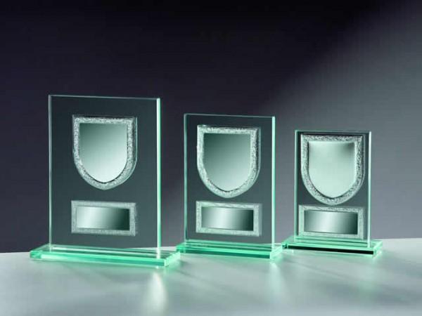 Glastrophäe Rechteck 10mm mit Metallfassungen (Wappen)