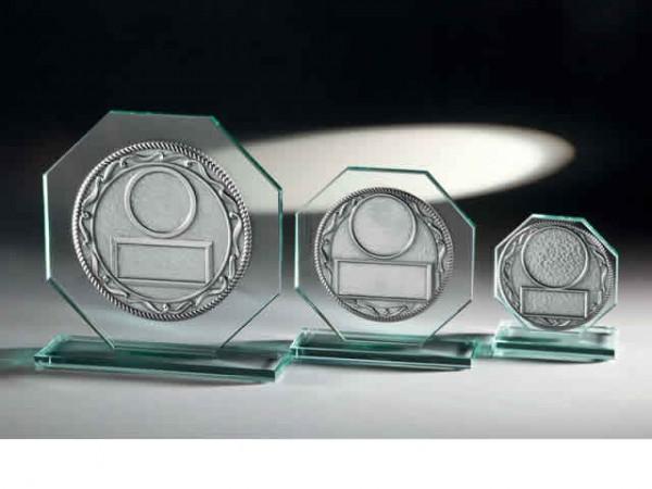 Glastrophäe 8-Eck, 3 Größen, 10mm Stärke mit Prägoscheibe