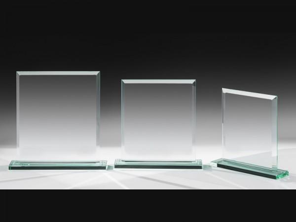 Glastrophäe gefast, 3 Größen, 10mm Stärke