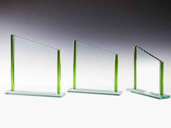 Glastrophäe Rechteck veredelt grün, 3 Größen, 10mm Stärke